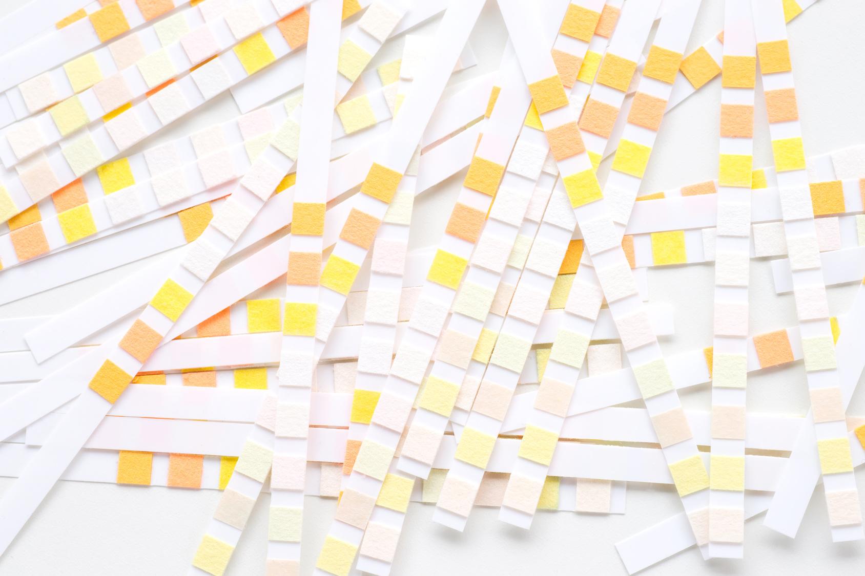 pile of diabetic test strips
